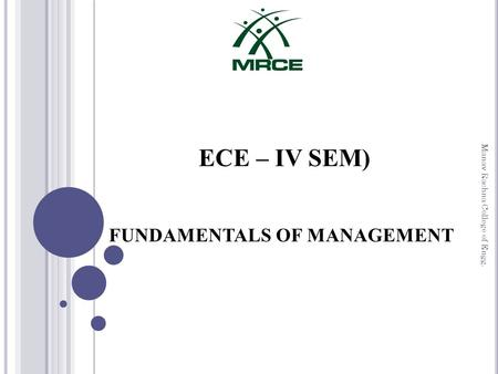 ECE – IV SEM) FUNDAMENTALS OF MANAGEMENT Manav Rachna College of Engg.