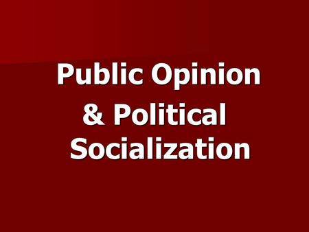 Public Opinion Public Opinion & Political Socialization.