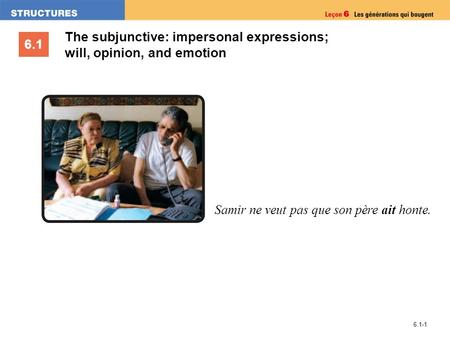 6.1 6.1-1 The subjunctive: impersonal expressions; will, opinion, and emotion Samir ne veut pas que son père ait honte.