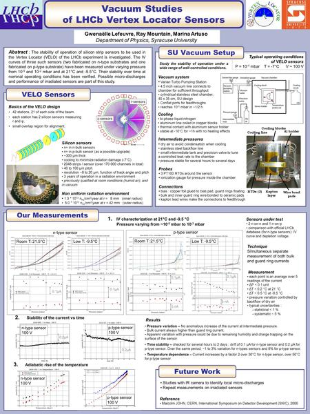 Vacuum Studies of LHCb Vertex Locator Sensors Gwenaëlle Lefeuvre, Ray Mountain, Marina Artuso Department of Physics, Syracuse University Abstract : The.