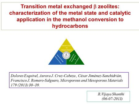 Transition metal exchanged  zeolites: characterization of the metal state and catalytic application in the methanol conversion to hydrocarbons R.Vijaya.