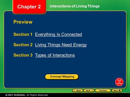 Chapter 2 Preview Section 1 Everything Is ConnectedEverything Is Connected Section 2 Living Things Need EnergyLiving Things Need Energy Section 3 Types.