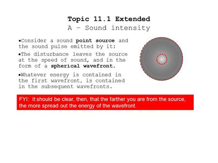  Consider a sound point source and the sound pulse emitted by it:  The disturbance leaves the source at the speed of sound, and in the form of a spherical.