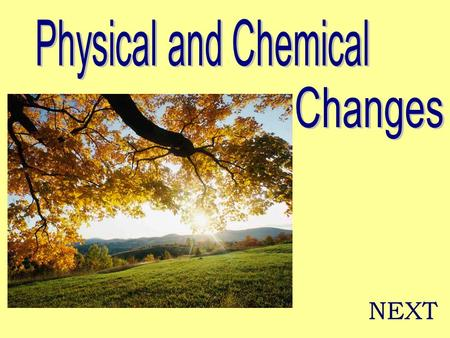 "NEXT. Physical Change ""The physical properties of a substance change, but the identity of the substance does not change."" NEXT."
