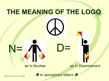 D= N= THE MEANING OF THE LOGO as in Nuclear as in Disarmament