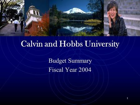 1 Calvin and Hobbs University Budget Summary Fiscal Year 2004.