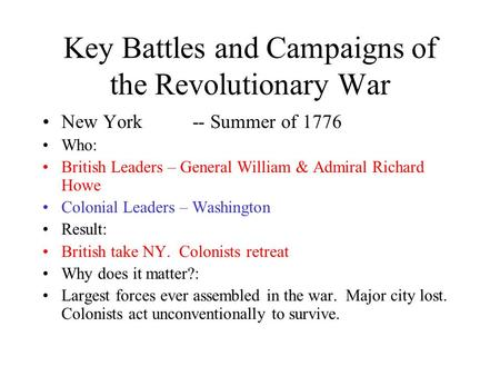 Key Battles and Campaigns of the Revolutionary War New York-- Summer of 1776 Who: British Leaders – General William & Admiral Richard Howe Colonial Leaders.
