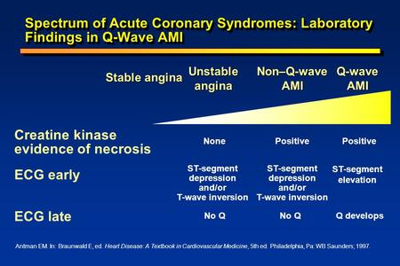 Spectrum of Acute Coronary Syndromes: Laboratory Findings in Q-Wave AMI Creatine kinase evidence of necrosis NonePositive ECG early ST-segment depression.