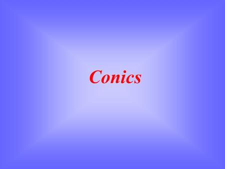Conics. Conic Sections (1) Circle A circle is formed when i.e. when the plane  is perpendicular to the axis of the cones.