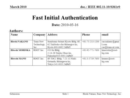Doc.: IEEE 802.11-10/0361r0 Submission March 2010 Hiroki Nakano, Trans New Technology, Inc.Slide 1 Fast Initial Authentication Date: 2010-03-16 Authors:
