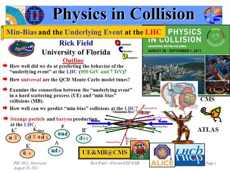 PIC 2011, Vancouver August 29, 2011 Rick Field – Florida/CDF/CMSPage 1 Physics in Collision Rick Field University of Florida Outline  Examine.