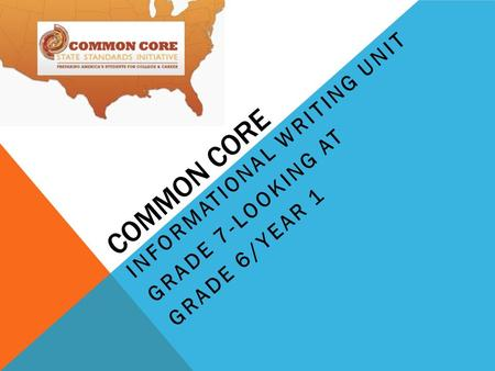 COMMON CORE INFORMATIONAL WRITING UNIT GRADE 7-LOOKING AT GRADE 6/YEAR 1.