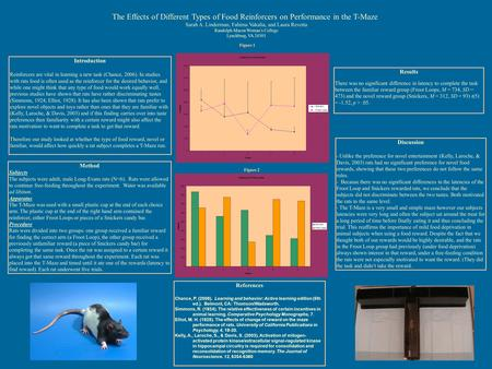 The Effects of Different Types of Food Reinforcers on Performance in the T-Maze Sarah A. Linderman, Fahima Vakalia, and Laura Revetta Randolph-Macon Woman's.