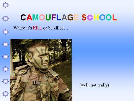 CAMOUFLAGE SCHOOLCAMOUFLAGE SCHOOL Where it's KILL or be killed… (well, not really)
