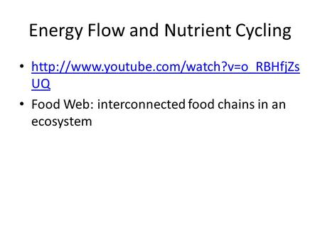 Energy Flow and Nutrient Cycling  UQ  UQ Food Web: interconnected food.