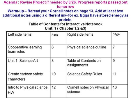 Agenda : Revise Project if needed by 8/26. Progress reports passed out tomorrow Warm-up – Reread your Cornell notes on page 13. Add at least two additional.