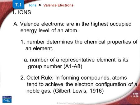Slide 1 of 39 © Copyright Pearson Prentice Hall Ions > Valence Electrons I. IONS A. Valence electrons: are in the highest occupied energy level of an atom.