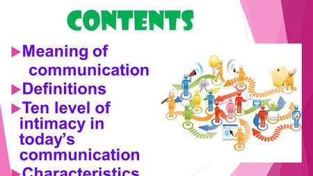 contents  Meaning of communication  Definitions  Ten level of intimacy in today's communication  Characteristics  Elements.