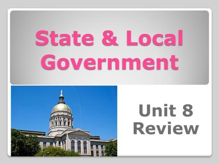 State & Local Government Unit 8 Review. What document explains the laws, government offices, and citizens' rights, and responsibilities in the state of.