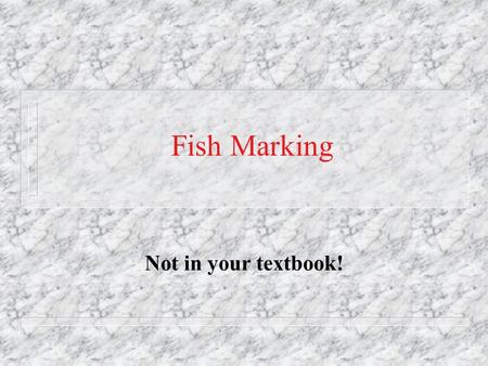 Fish Marking Not in your textbook!. Reasons for marking fishes n To identify stocks n To assess stock size n To assess growth and mortality rates Mark.