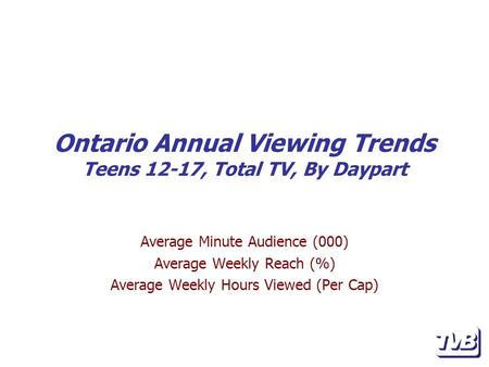 Ontario Annual Viewing Trends Teens 12-17, Total TV, By Daypart Average Minute Audience (000) Average Weekly Reach (%) Average Weekly Hours Viewed (Per.