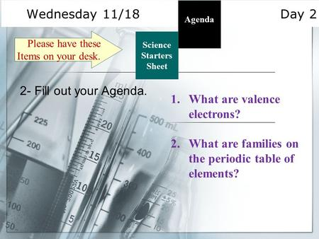 Wednesday 11/18 Day 2 Science Starters Sheet 1. Please have these Items on your desk. Agenda 2- Fill out your Agenda. 1.What are valence electrons? 2.What.