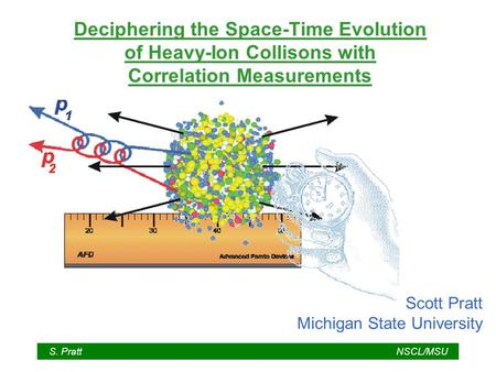 S. PrattNSCL/MSU Deciphering the Space-Time Evolution of Heavy-Ion Collisons with Correlation Measurements Scott Pratt Michigan State University.
