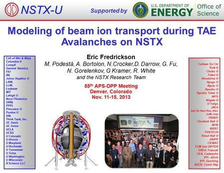 Modeling of beam ion transport during TAE Avalanches on NSTX Eric Fredrickson M. Podestà, A. Bortolon, N.Crocker,D. Darrow, G. Fu, N. Gorelenkov, G Kramer,