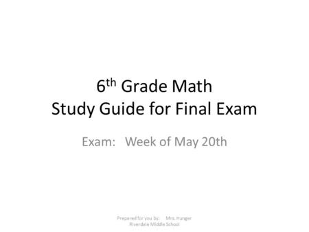 6th Grade Math Study Guide for Final Exam