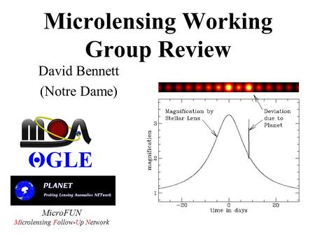 Microlensing Working Group Review David Bennett (Notre Dame) MicroFUN Microlensing Follow-Up Network.