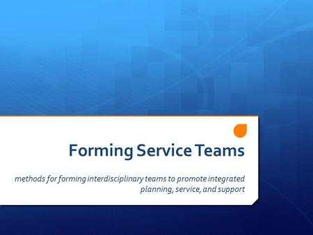 Forming Service Teams methods for forming interdisciplinary teams to promote integrated planning, service, and support.
