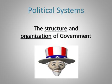 Political Systems. Purpose of Government: Keep order Make, protect and enforce laws Protect the Nation/Society from Inside and outside threats Decide.