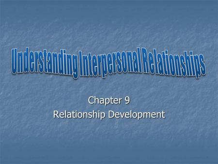 Chapter 9 Relationship Development. Interpersonal Relationships: Relationships between two individuals that can range from mere acquaintance to meaningful.