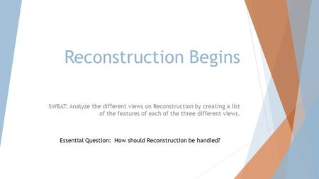 Reconstruction Begins SWBAT: Analyze the different views on Reconstruction by creating a list of the features of each of the three different views. Essential.