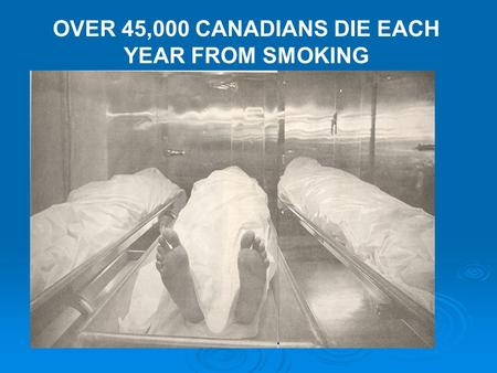 OVER 45,000 CANADIANS DIE EACH YEAR FROM SMOKING.