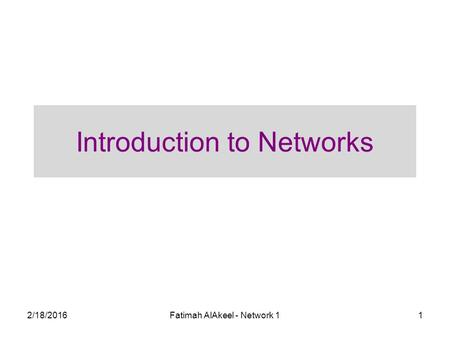 2/18/2016Fatimah AlAkeel - Network 11 Introduction to Networks.