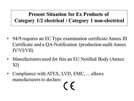 94/9 requires an EC Type examination certificate Annex III Certificate and a QA-Notification (production audit Annex IV/VI/VII) Manufacturers need for.