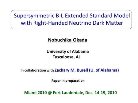 Supersymmetric B-L Extended Standard Model with Right-Handed Neutrino Dark Matter Nobuchika Okada Miami Fort Lauderdale, Dec. 14-19, 2010 University.