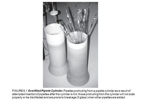 FIGURE 6.1 Overfilled Pipette Cylinder. Pipettes protruding from a pipette cylinder as a result of attempted insertion of pipettes after the cylinder is.