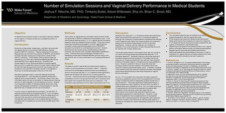 Number of Simulation Sessions and Vaginal Delivery Performance in Medical Students Joshua F. Nitsche, MD, PhD, Timberly Butler, Alison Witkowski, Sha Jin,
