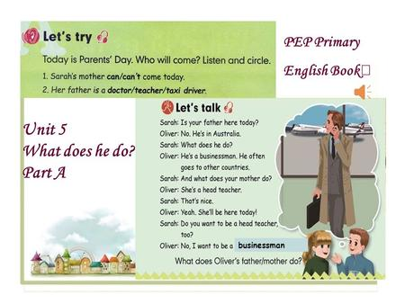 PEP Primary English Book Ⅶ Unit 5 What does he do? Part A businessman.