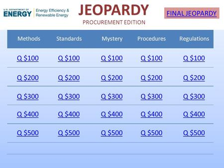JEOPARDY PROCUREMENT EDITION Methods StandardsMystery ProceduresRegulations Q $100 Q $200 Q $300 Q $400 Q $500 Q $100 Q $200 Q $300 Q $400 Q $500 FINAL.