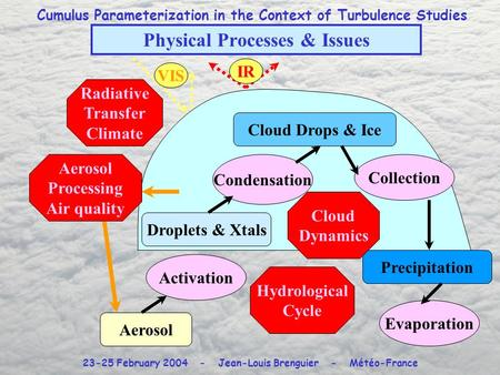Cumulus Parameterization in the Context of Turbulence Studies 23-25 February 2004 - Jean-Louis Brenguier - Météo-France Physical Processes & Issues Aerosol.