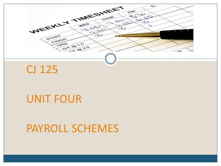CJ 125 UNIT FOUR PAYROLL SCHEMES. THE MAIN CATEGORIES OF PAYROLL FRAUD Payroll Schemes Occupational frauds in which a person who works for an organization.