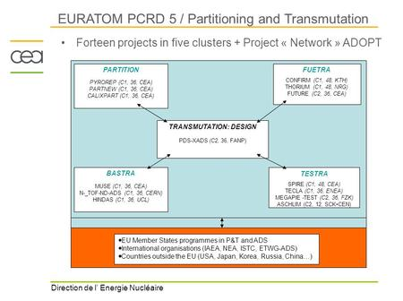 Direction de l' Energie Nucléaire EURATOM PCRD 5 / Partitioning and Transmutation Forteen projects in five clusters + Project « Network » ADOPT PARTITION.
