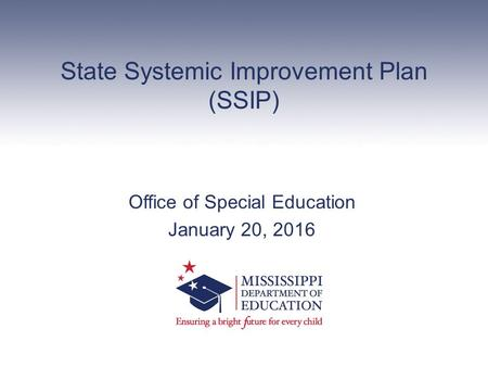State Systemic Improvement Plan (SSIP) Office of Special Education January 20, 2016.