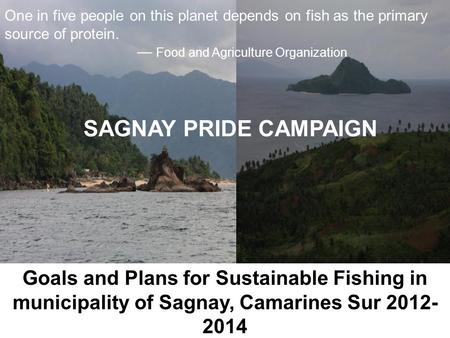 Goals and Plans for Sustainable Fishing in municipality of Sagnay, Camarines Sur 2012- 2014 One in five people on this planet depends on fish as the primary.