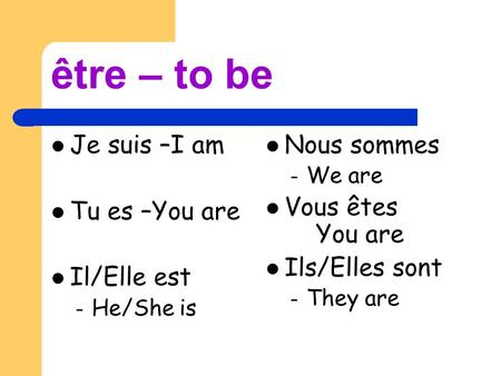 Être – to be Je suis –I am Tu es –You are Il/Elle est – He/She is Nous sommes – We are Vous êtes You are Ils/Elles sont – They are.