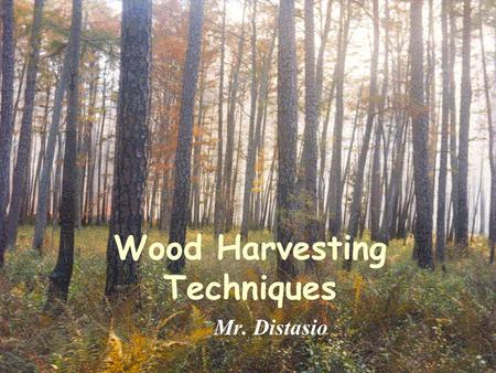 Wood Harvesting Techniques Mr. Distasio. Leave nothing but limbs & branches behind. Works best for large stands with few species of similar ages whose.