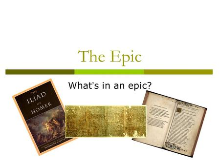The Epic What ' s in an epic?. Definition epic adjective Also, ep·i·cal. 1. noting or pertaining to a long poetic composition, usually centered upon a.